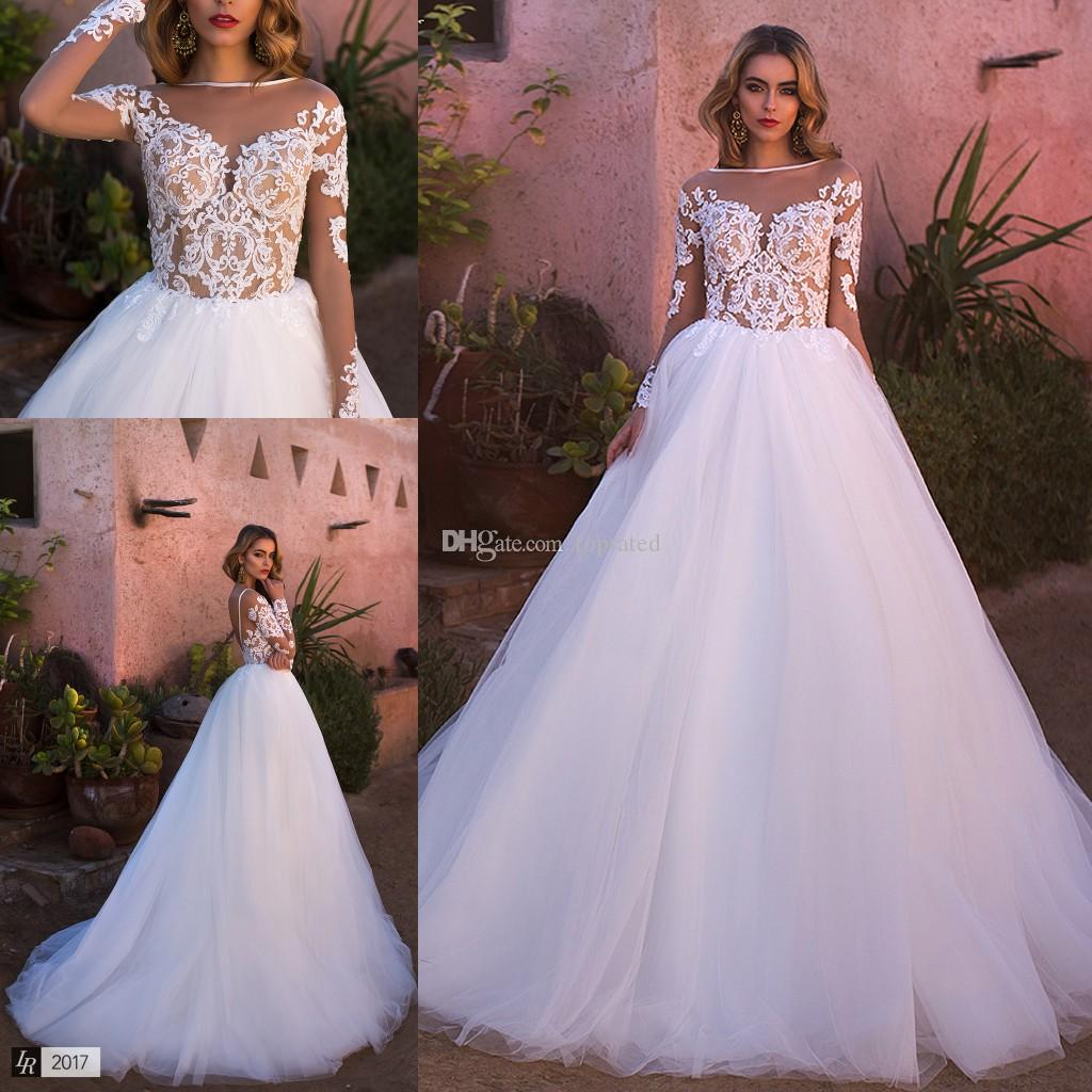 y Illusion Long Sleeve Wedding Dresses Backless See