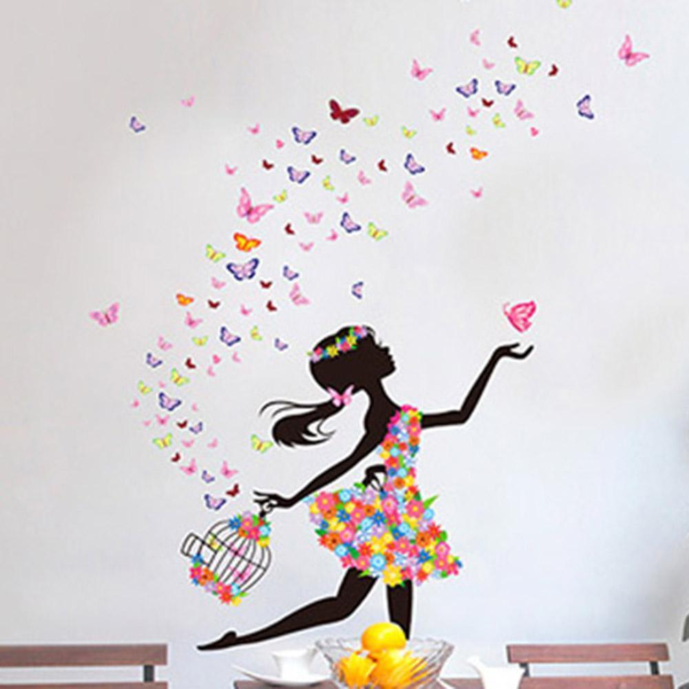 Butterfly Girl Flower Removable Wall Stickers Vinyl Decal Room Home Mural Decor Printed Window