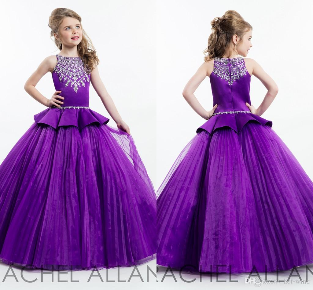 2016 Rachel Allan Purple Ball Gown Princess Girl's Pageant Dresses ...