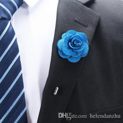 Hot Lapel Flower Man Femme Camellia Hand-made Boutonniere Stick Brooch Pin Acces