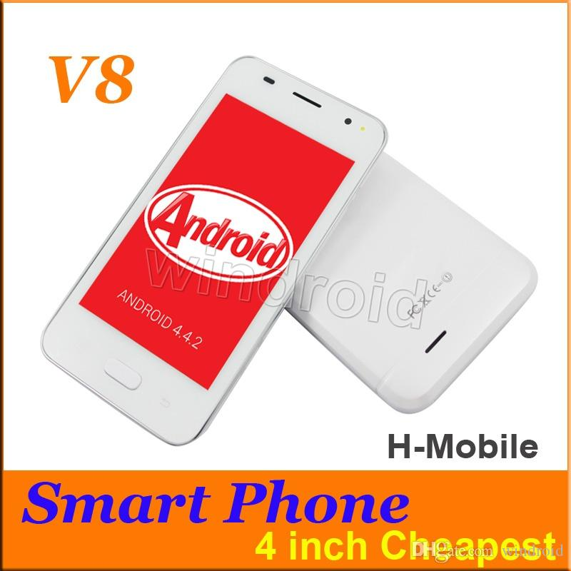 H-Mobile V8 4 pouces écran tactile Android 4.4 Smart Phone Dual Sim Wifi 256M RA