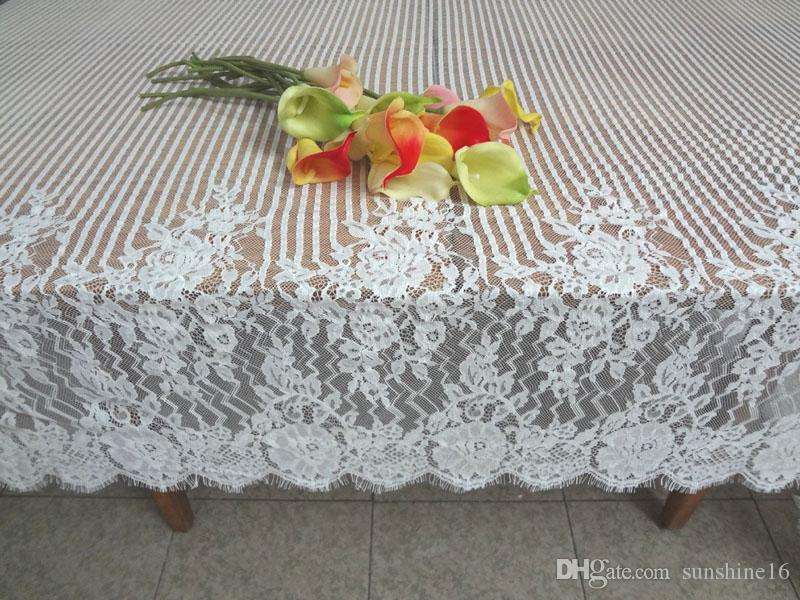150 300cm Oblong Lace Fabric Jacquard Tablecloths Table Cloths Sofa Cover Wedding Party Home Decor Kitchen Dining Textiles Decoration White