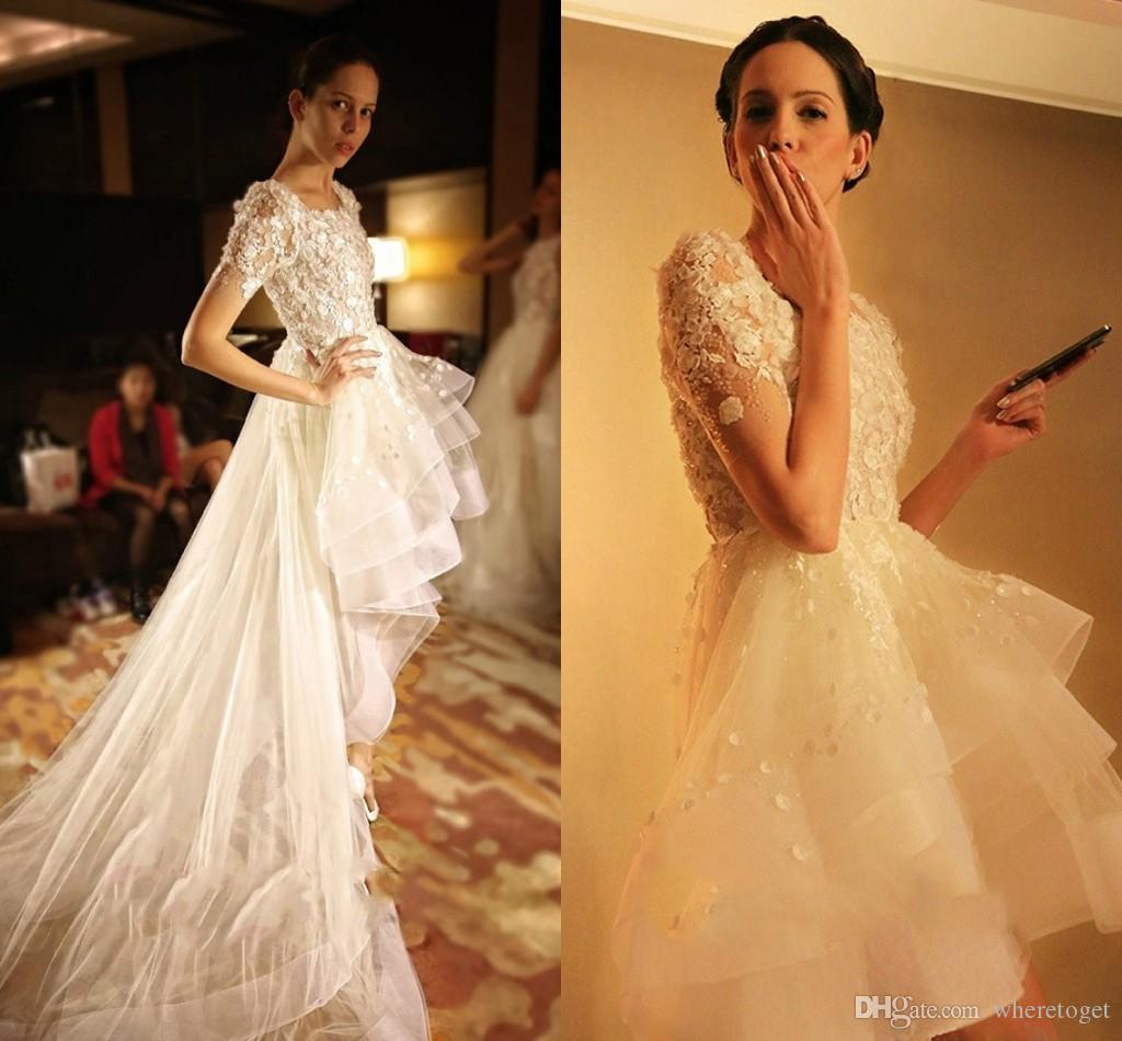 Fashion romantic hi lo wedding dresses 2016 new 3d floral for Hi lo dress wedding guest