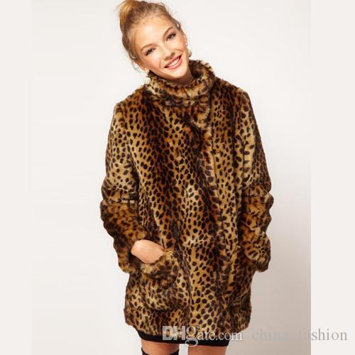 2017 Womens Oversized Faux Fur Coat Leopard Print Long Sleeve