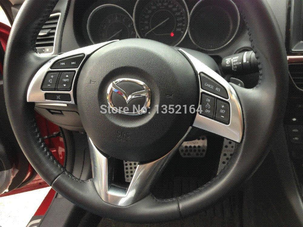 auto steering wheel cover steer wheel decoration trim for mazda 6 atenza 2014 2015 abs chrome. Black Bedroom Furniture Sets. Home Design Ideas