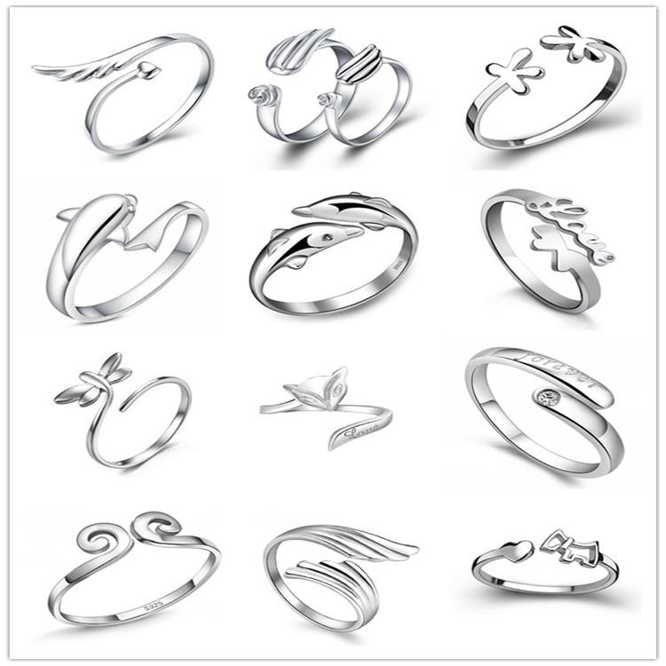 925 Sterling Silver Jewerly Rings Dolphins Dragonfly Ailes De L'Ange Love Fox Bu