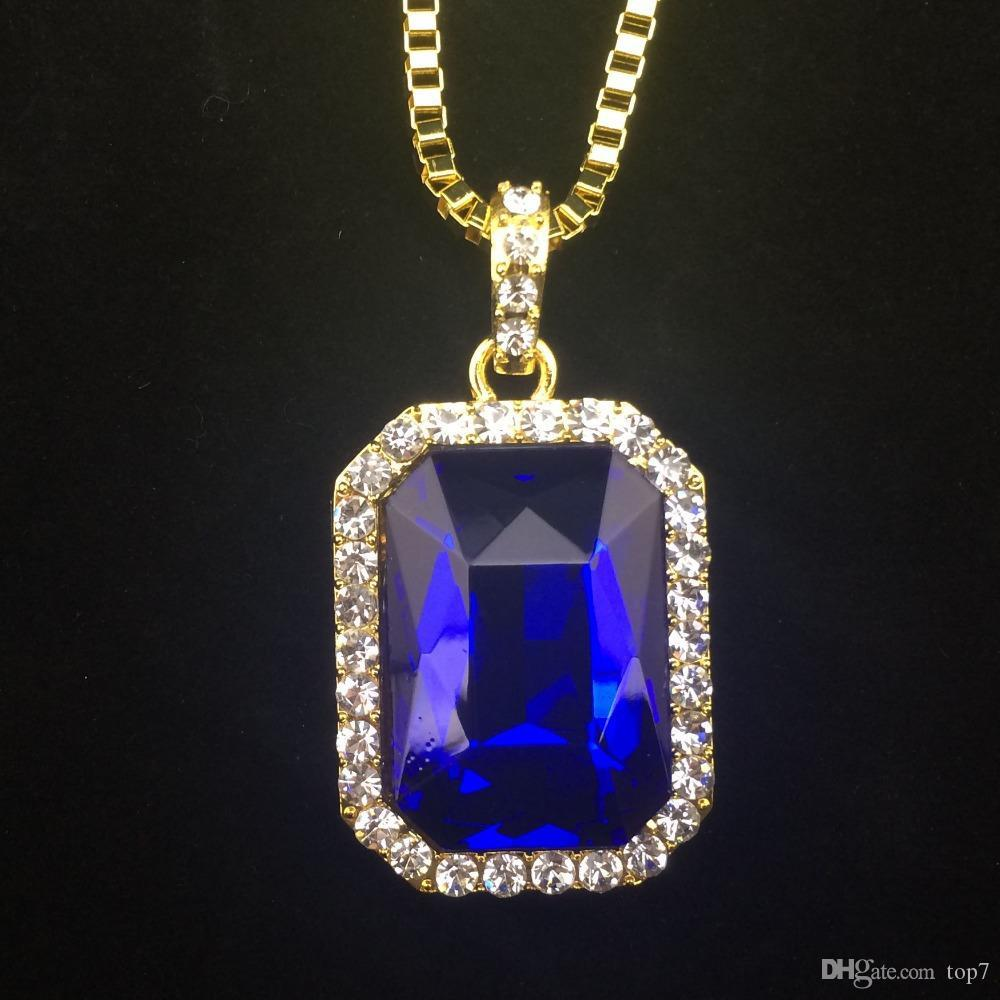 Wholesale New Mens Bling Faux Lab Ruby Pendant Necklace 24