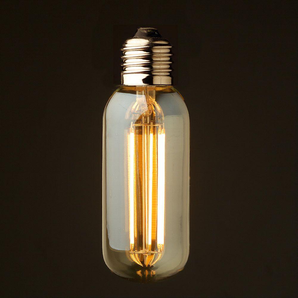 Vintage Led Long Filament Light Bulb 6w 2200k Gold Tint Edison T45 Tubular