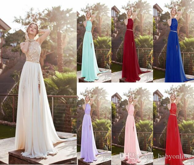 2017 Julie Vino Halter Lace Top Sexy Backless Beach Prom Dresses Cheap Eight Colors In Sotck Beading Waist Split Evening Gown Boho Dresses