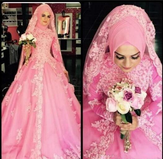 new design 2016 saudi arabia abaya muslim wedding dresses pink ball gown appliqued vintage lace long sleeves bridal gowns custom made