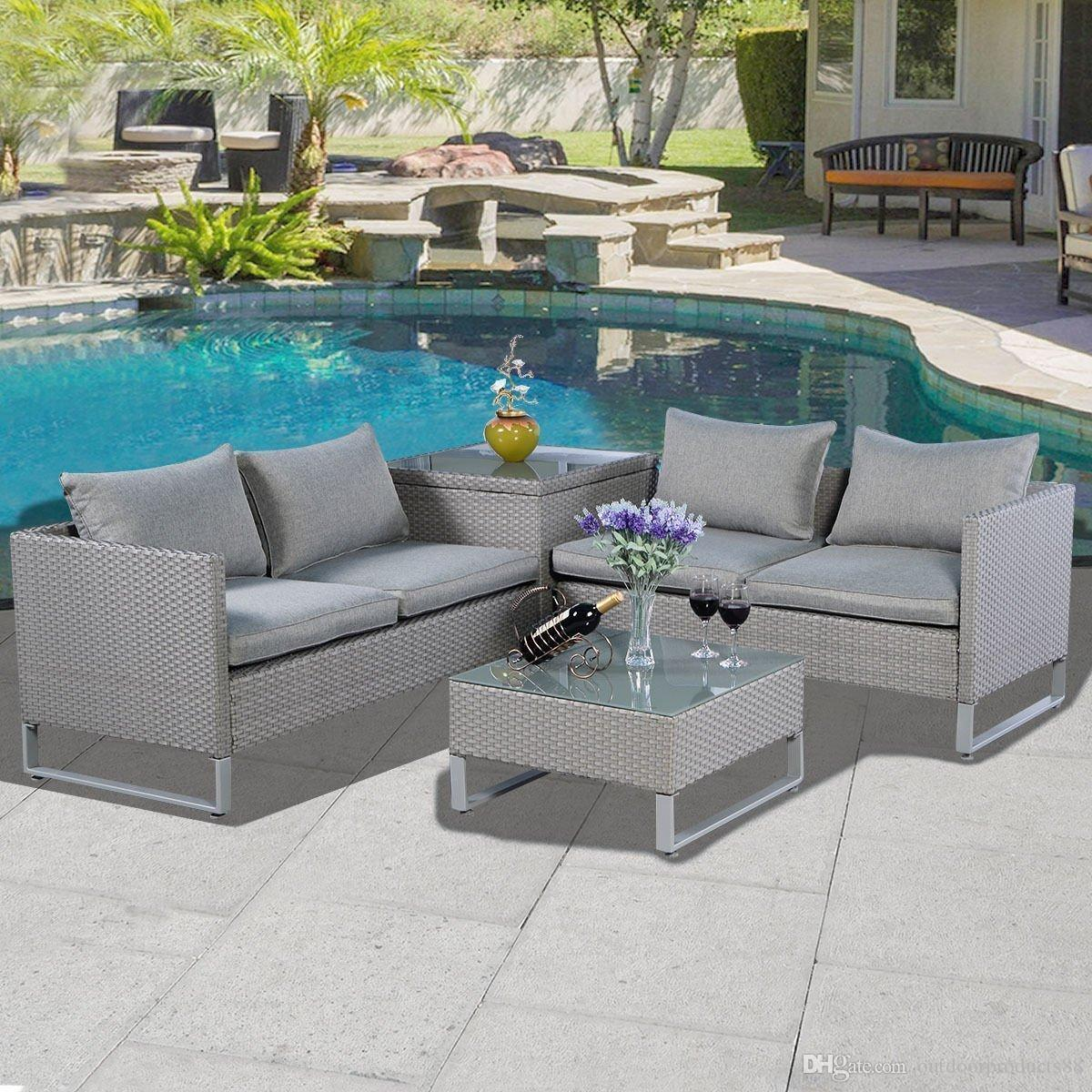 All weather outdoor rattan garden sofa set for All weather garden chairs