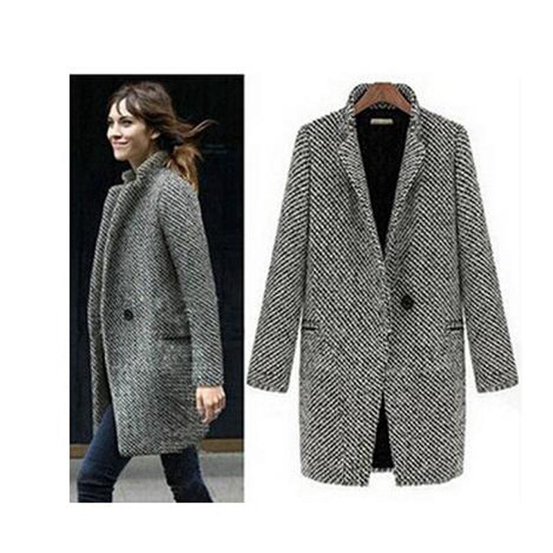 Elegant Women Winter Wool Coats Plus Size Grey Warm Cotton Trench ...