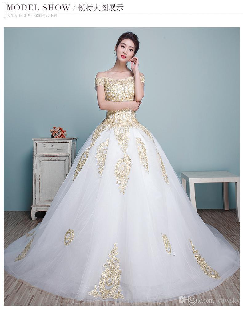 White And Gold Wedding Dress Plus Size: White long chiffon evening ...