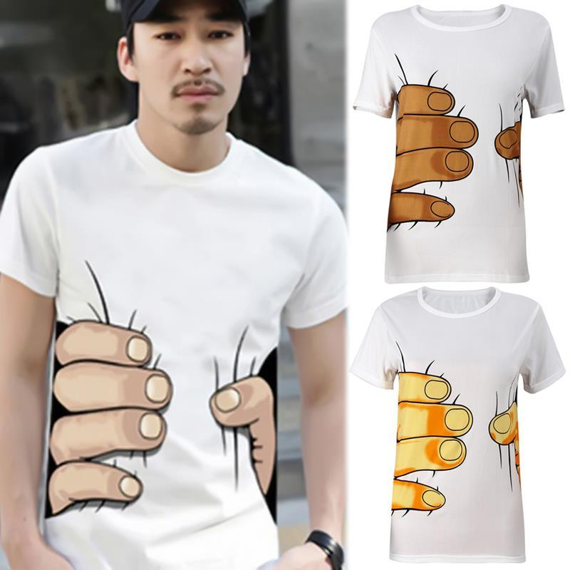 Summer Brand New Men 3D Big Hand à manches courtes en coton T-shirt respirant O