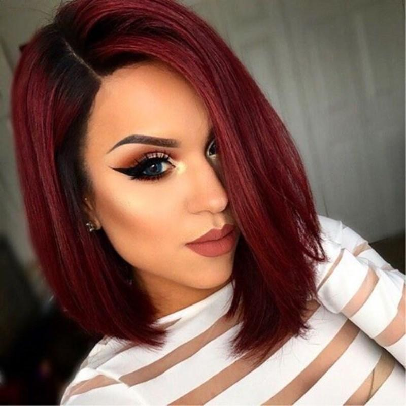 ombre colored wigs short female haircuts bob style ombre two tone 1bt red new fashion glueless lace front wigs with combs and strap on sale - Colored Wig