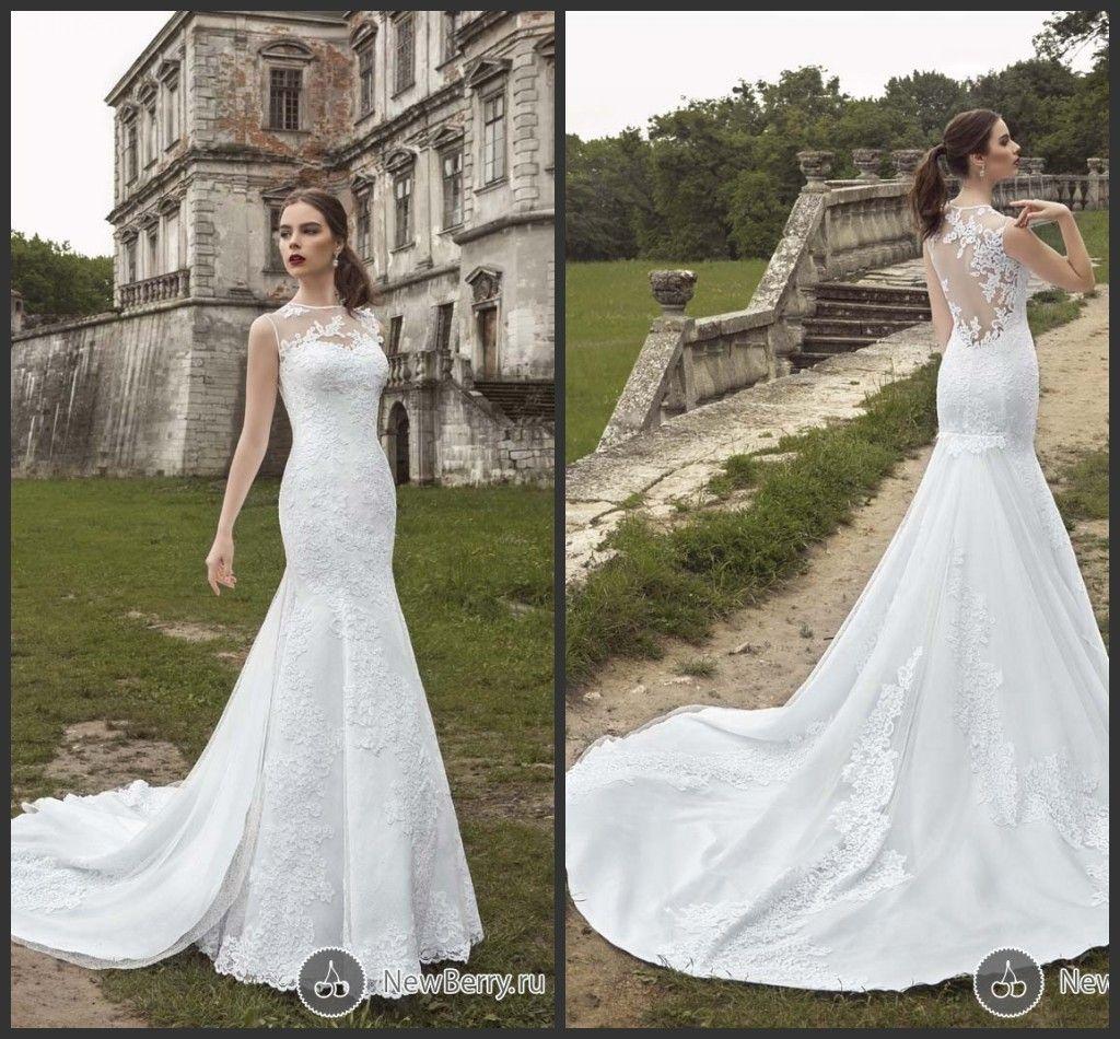Mb 2016 Glamorous Mermaid Wedding Dresses Sheer Jewel Neck