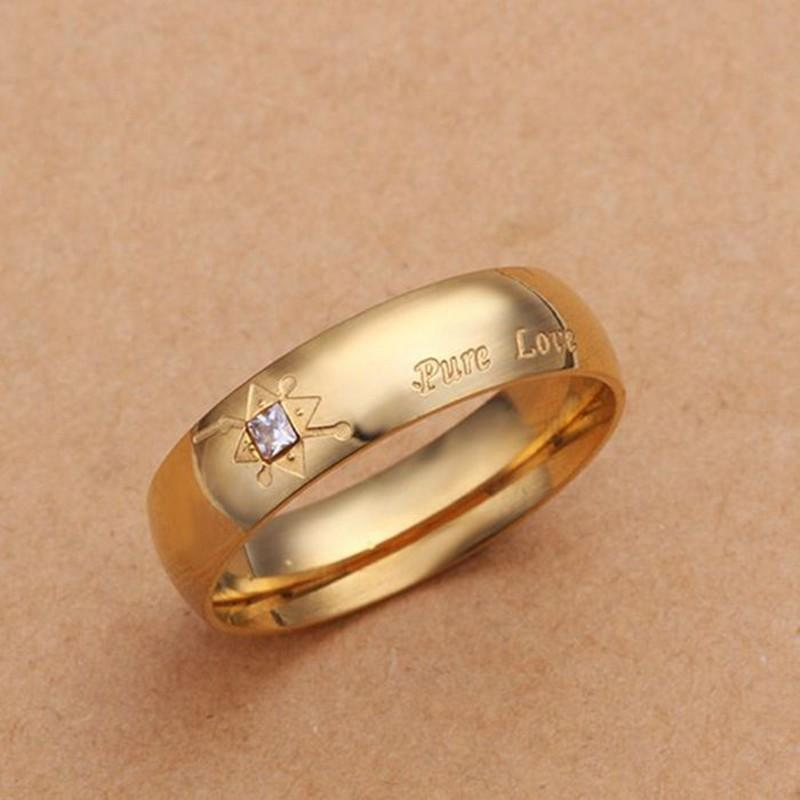never fade 18k gold plated pure love letter jewelry accessories women men wedding pair couple ring r251gs - Online Wedding Rings