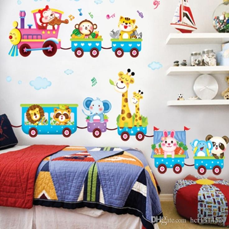 Childrenu0027s Room Decoration Can Remove The Stickers Cartoon Baby Bedroom  Bedside Wall Stickers Background Wall Stickers Train Creative Stickers Wall  Painting ... Part 44