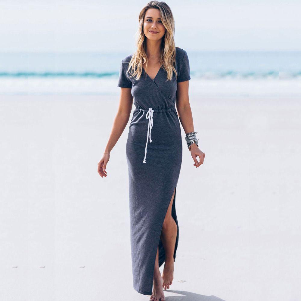 Summer 2016 Fashion Long Beach Dresses Women Short Sleeves V Neck ...