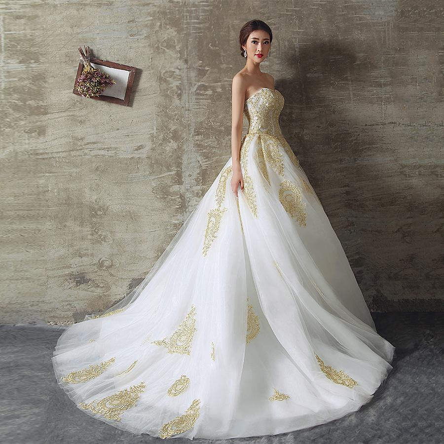 Discount 2016 gold lace wedding dresses a line strapless for White and gold lace wedding dress