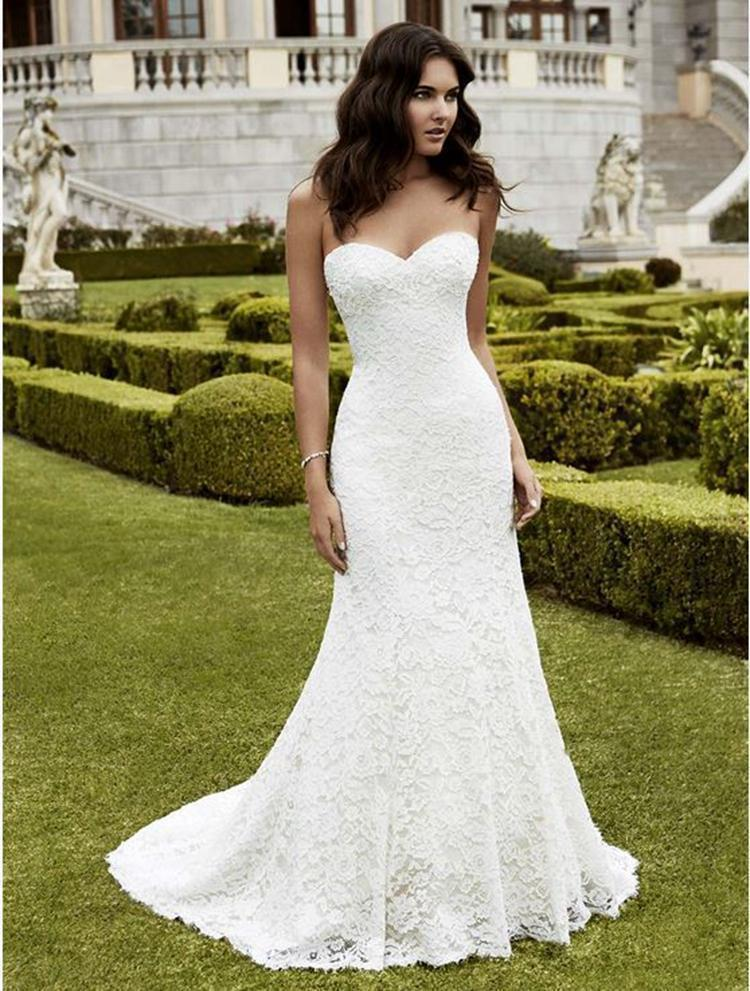 Discount 2016 Simple Garden Full Lace Wedding Dresses A