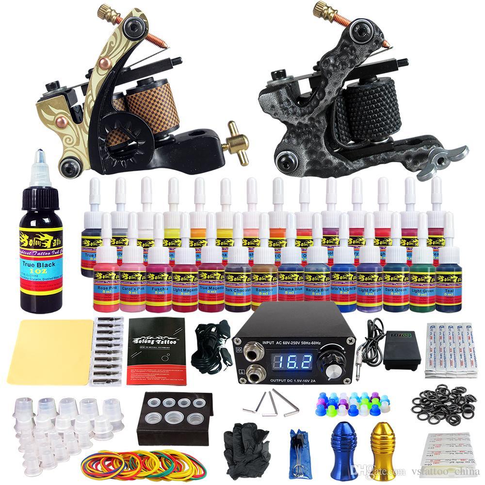 Solong tattoo complete tattoo kit 2 pro machine guns 28 for Tattoo gun kits for sale