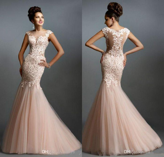 Sheer Bateau Blush Evening Dress Mermaid Prom Gown Beads Lace ...