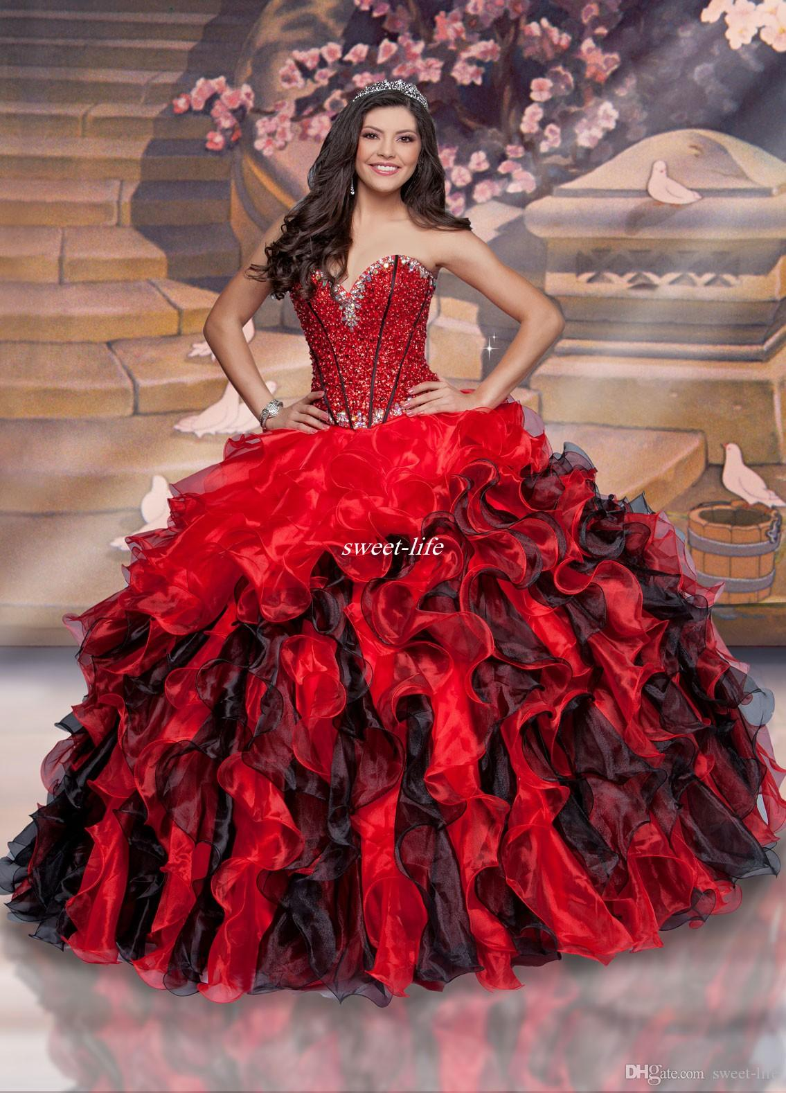 Black And Red Plus Size Sweet 16 Quinceanera Dresses