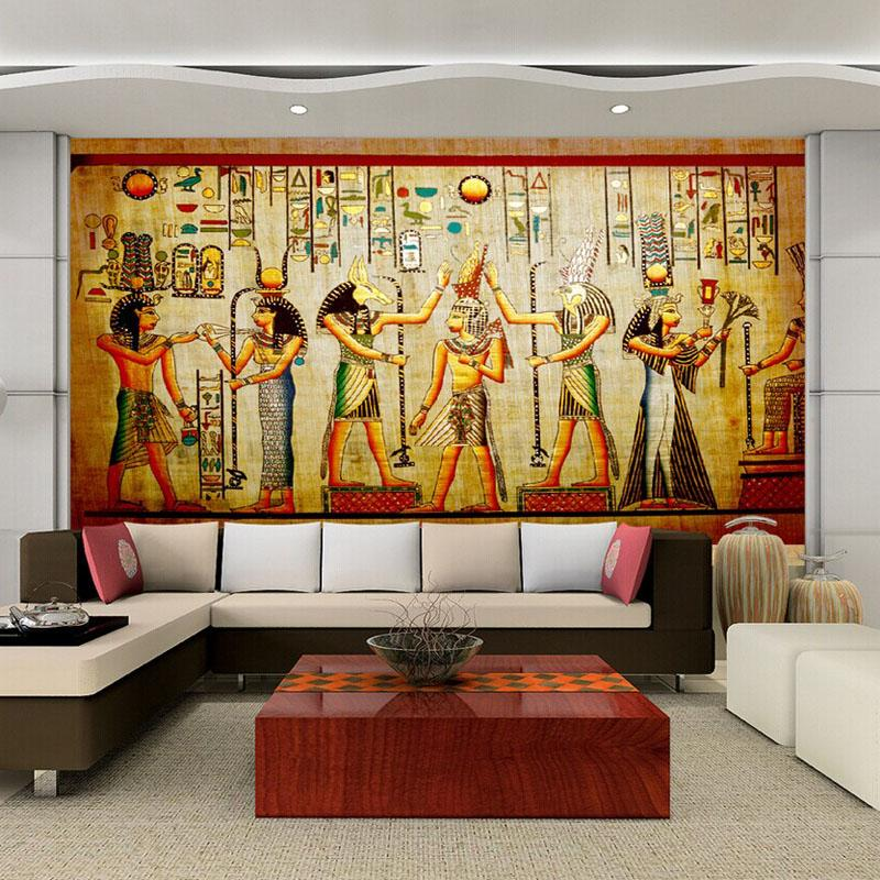 Egyptian wall art ancient egypt on wall stock photography for Egyptian wallpaper mural