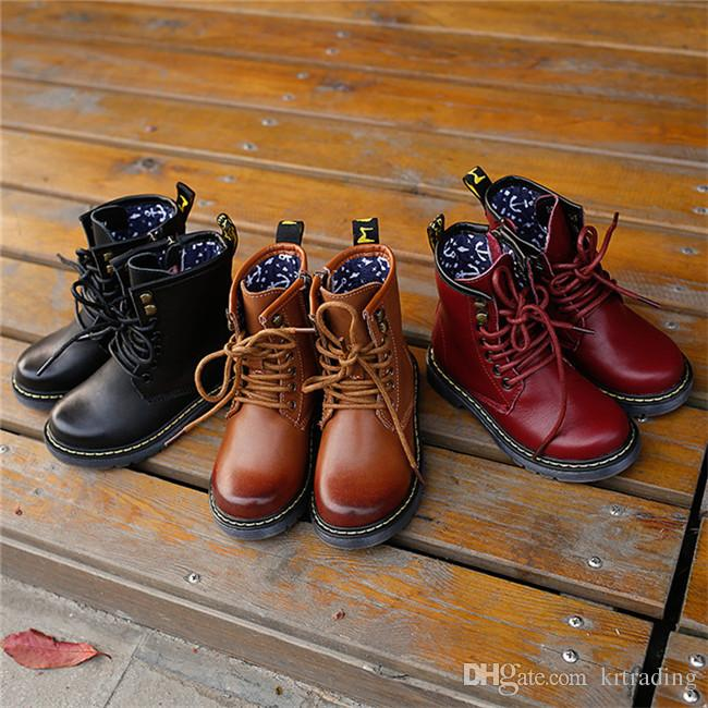 Children Genuine Leather Martin Boots Buskin Lace Up Zipper High ...