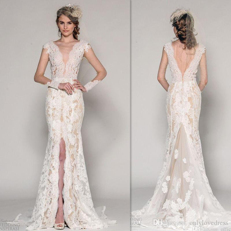 Mermaid bridal dresses 2016 lace slit cap sleeves wedding for Dhgate wedding dresses 2016