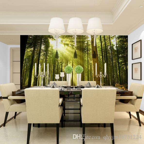 Modern Non Woven Natural Scenery Sun Forest Large Wallpaper Manufacturers Promotional Applicable Bedroom Living Room TV Backdrop Restaurant Porch Partition