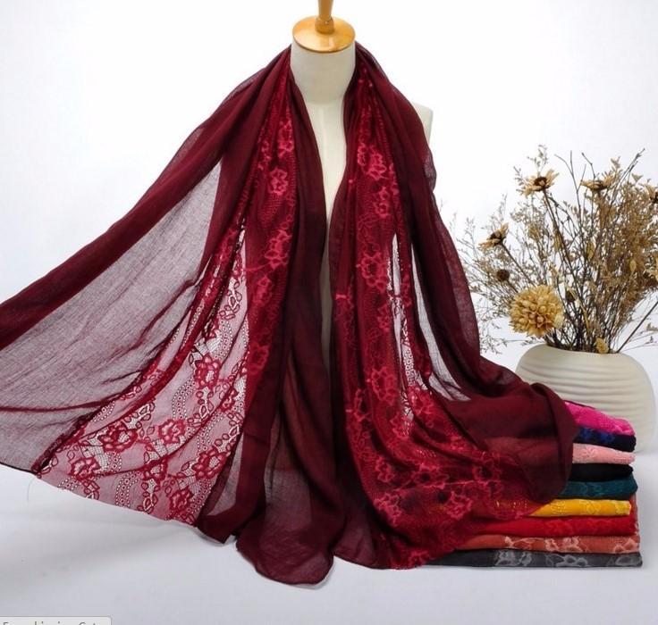 lace burgundy cotton scarf fashion shawl muslim wrap
