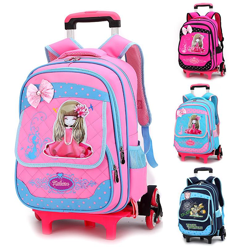 6 Wheels Rolling School Backpacks Girls Boys Trolley Bags Climb ...