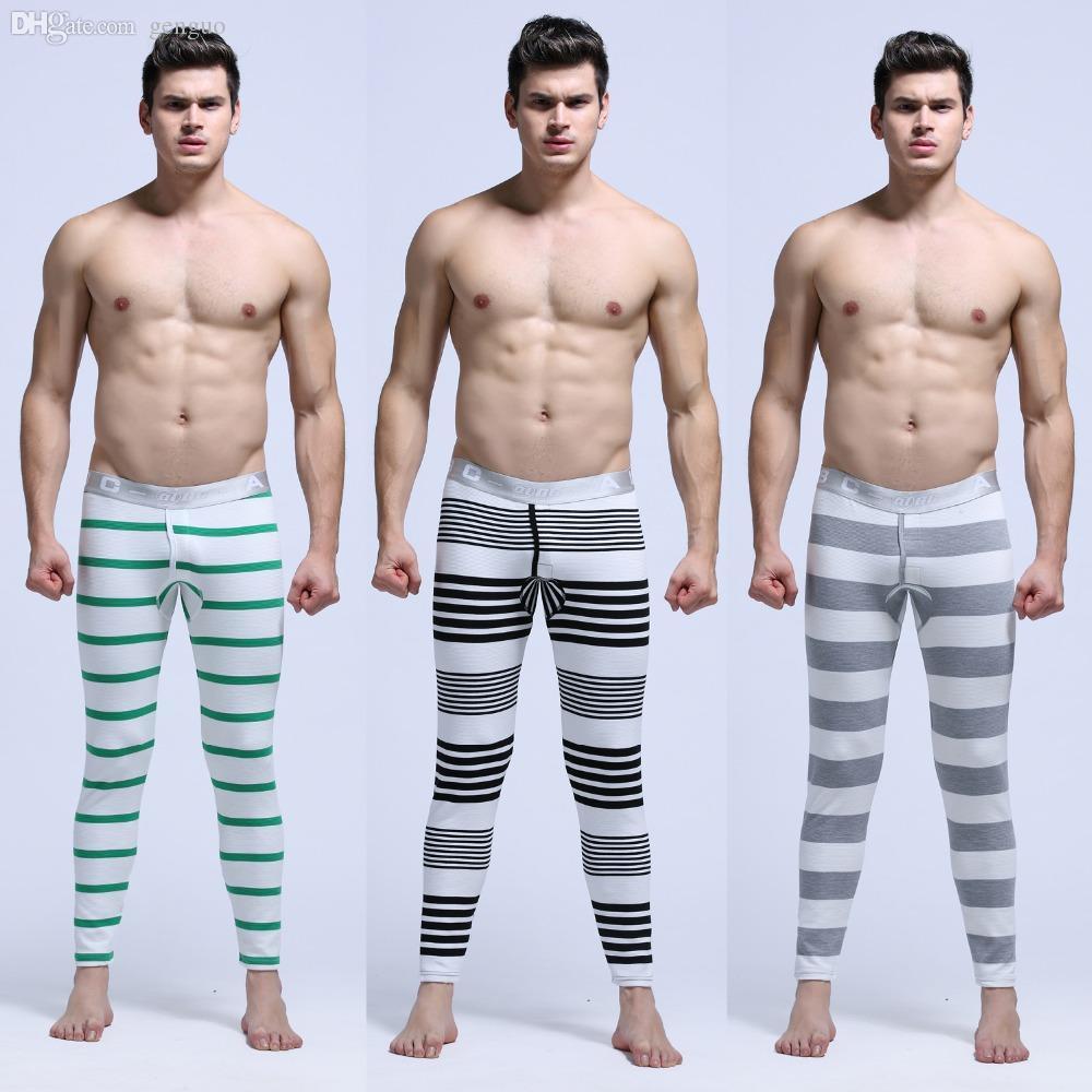 2017 Wholesale Men'S Striped Winter Long Underwear Warm Pants ...