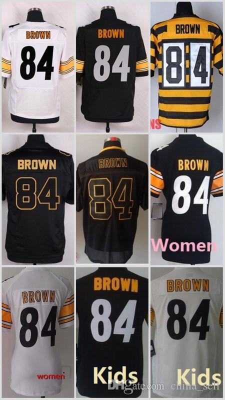 84 Antonio Brown Noir Blanc Jaune Maison Away 2016 2017 Stitched Elite Football