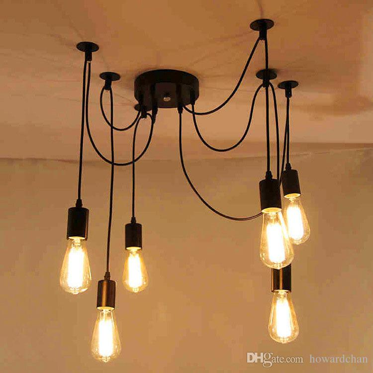 6 heads vintage industrial ceiling lamp edison light for Suspension salle a manger