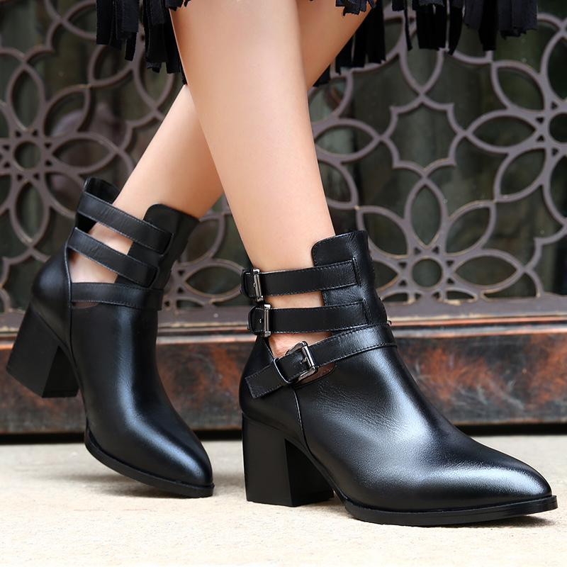 Women'S Buckle Genuine Leather Ankle Boots Brand Designer Pointed ...