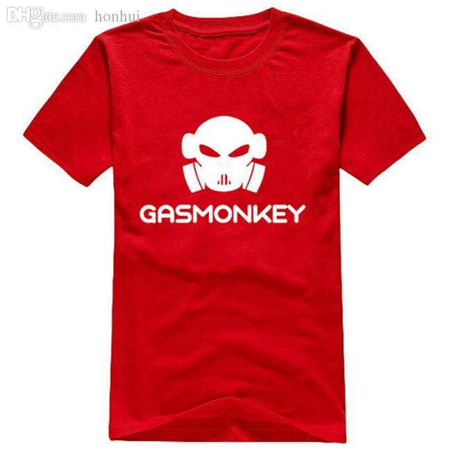 Wholesale-Free Shipping summer style gas monkey printing T shirt 100% Cotton Round collar men t-shirts