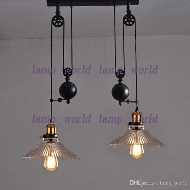 Up Down Dining Room Vintage Pulley Lamp Kitchen Light Rise Fall Glass Shade Chandelier Industrial Lighting Bar E27 Edison Pendant Lamps Online With