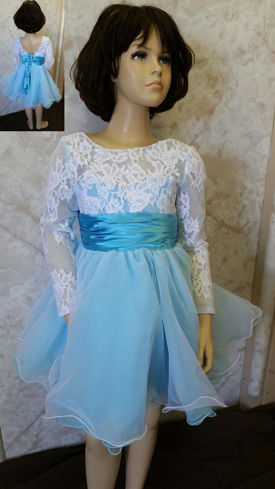 2016 baby blue and white flower girls dresses with long
