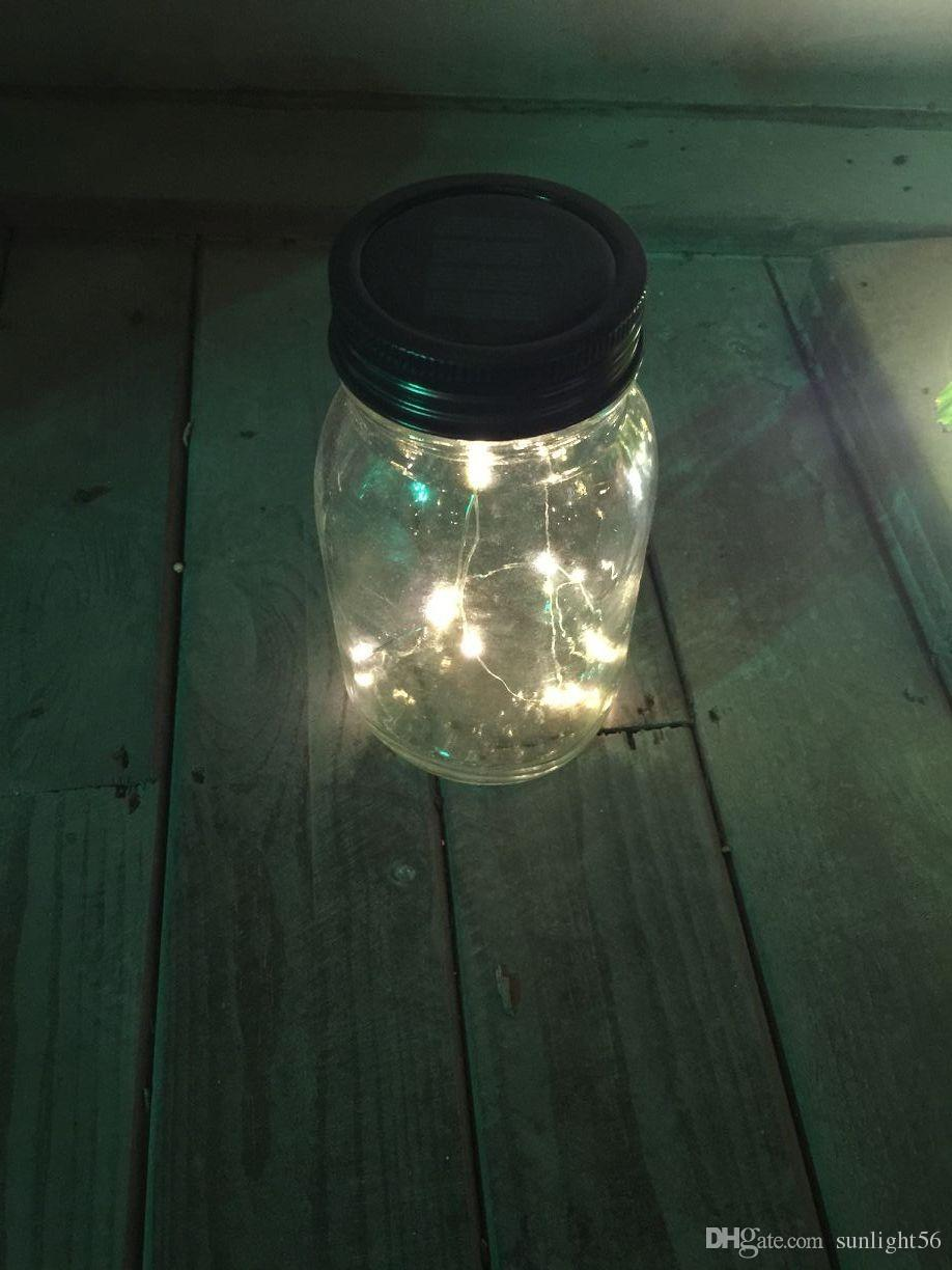 Wonderful Solar Lid Light Wholesale Part - 14: Wholesale-New Solar Mason Jar Lid , Warm White LED Fairy Mason Jar Lantern  For Patio Garden Porch Decoration Solar LED Lid Lights Solar Mason Jar Lid  Solar ...