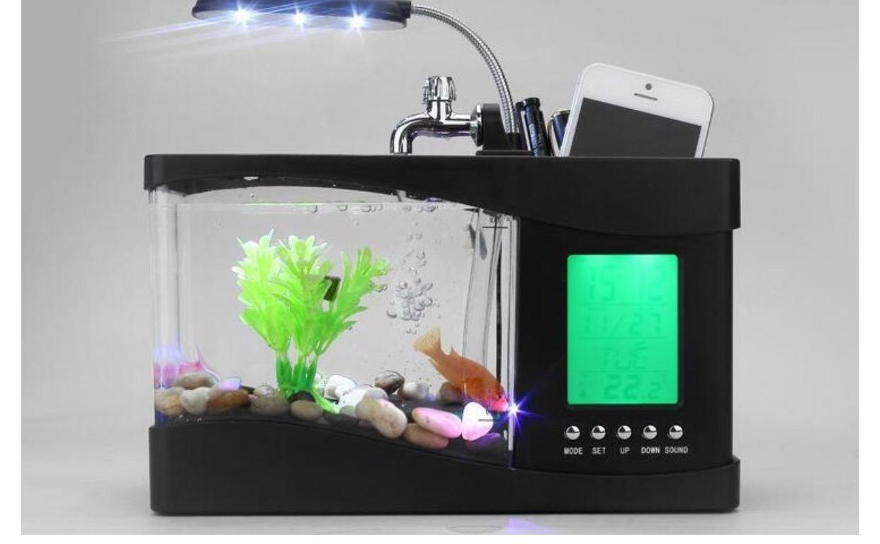 Usb mini aquarium fish tank with colorful light - Innovative Unique Home Decoration Mini Usb Lamp Light Fish Tank Aquarium