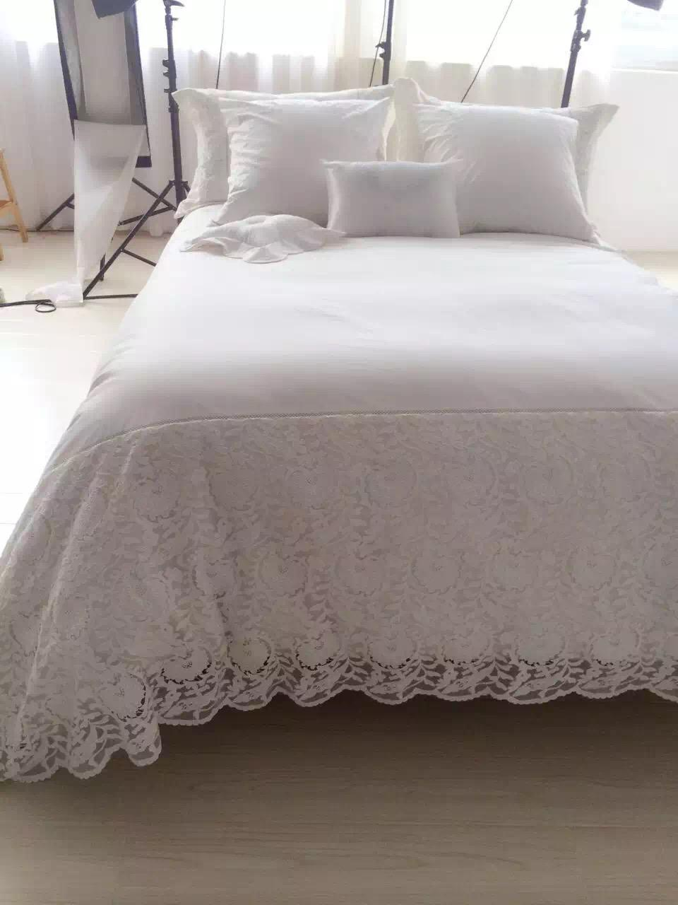 Wedding bed sheet set - Luxury Wedding Kit 100 Cotton White Color Bedding Sets With Lace Duvet Covers 4pcs Lace