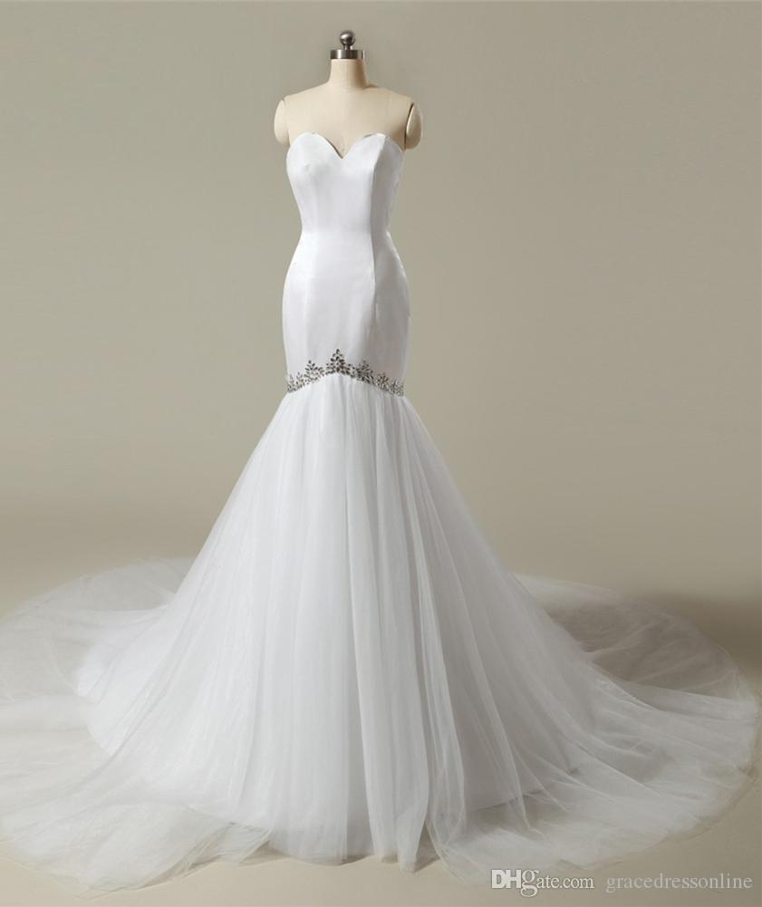 2016 sexy mermaid wedding dresses sweetheart beaded off for Real simple wedding dresses