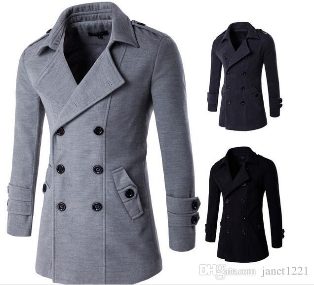 Plus Size Winter Men Trench Coat Double Breasted Pea Coats Oblique ...