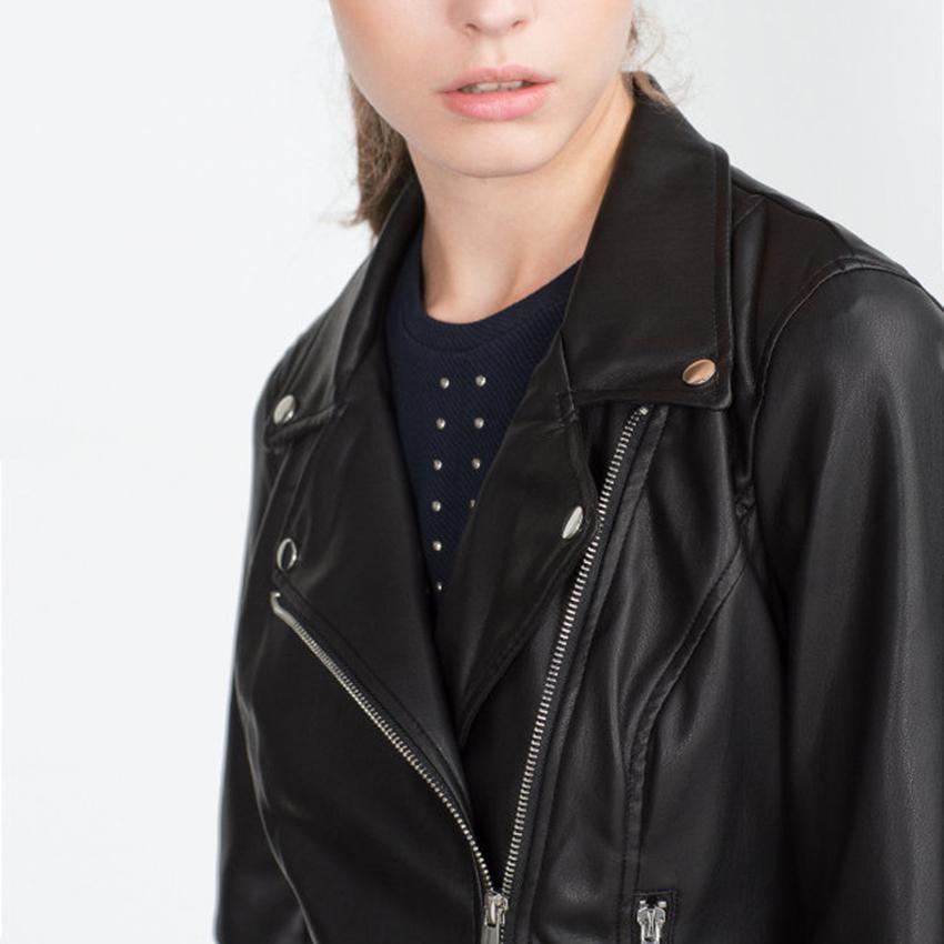 Cheap Winter Biker Jackets Faux Short Leather Jacket Women Swag