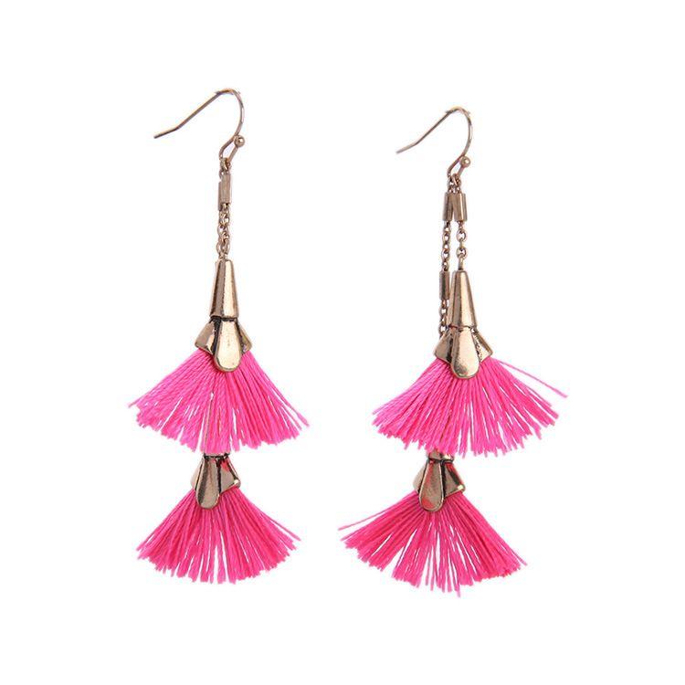 2016 Hot Pink Fanned Tassels Earrings Double Fan Tassel Chandelier ...