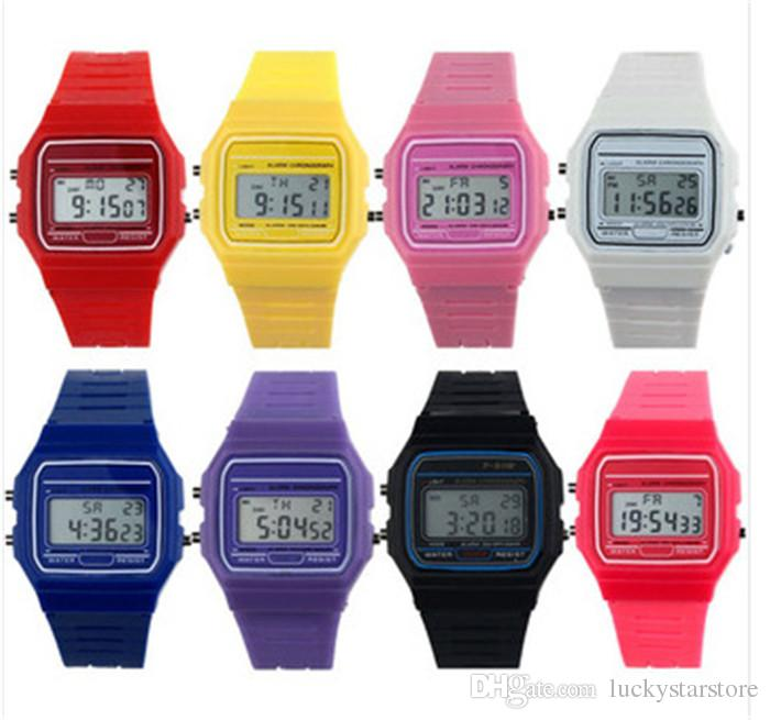 9 color luxury fashion f 91w sport watches for men women child silicone led electronic - Color Watches