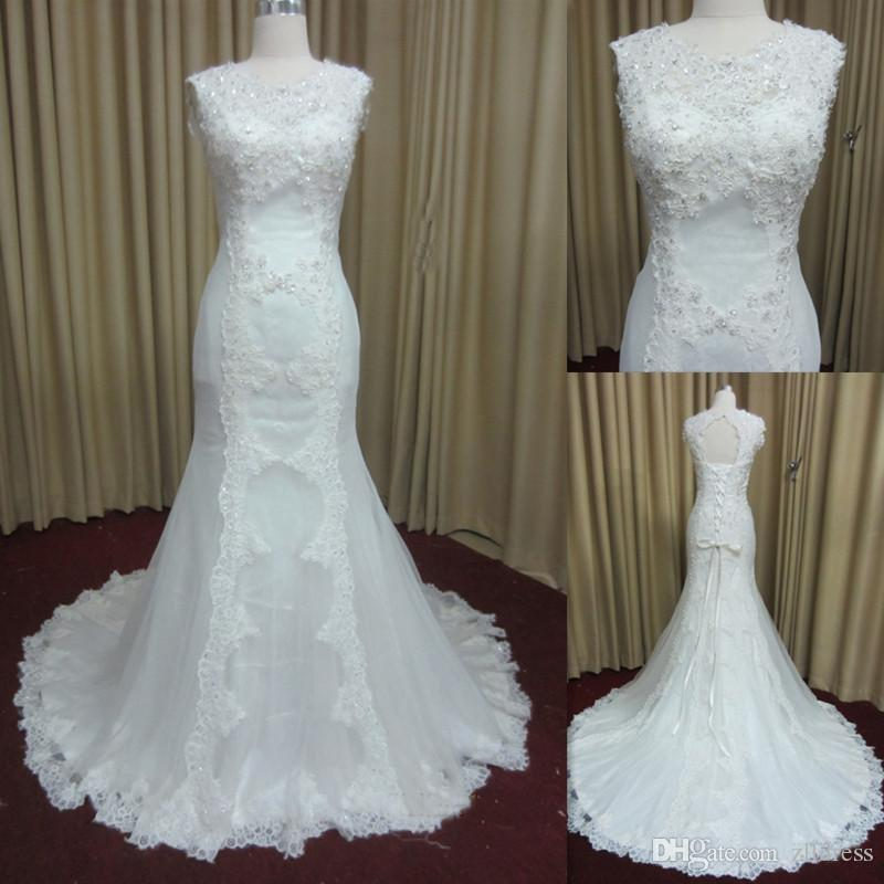 Mermaid wedding dresses 2016 lace appliques crew neck for Crew neck wedding dress